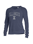 Wmn Slouchy Pullover L/S Crew Illinois